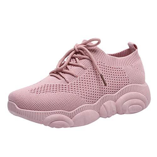 Zapatillas de Deportivos de Running para Mujer Zapatos de Malla Tejida voladora Gimnasia Ligero Sneakers Aire Libre y Deporte Transpirables Casual Cómodo Verano 2019 Sports Shoes riou