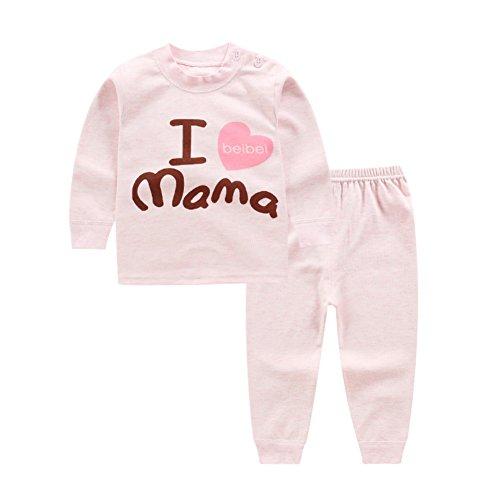 Blaward Baby Jungen Mädchen Zweiteilige Schlafanzüge Pyjama Set Cartoon Buchstaben Gedruckt Langarm Baumwolle Nachtwäsche für Kinder 0-4Jahre