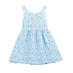 Rosennie Baby Kid Girls Sleeveless One Piece Flower Dress Print Bowknot Tutu Dress Summer