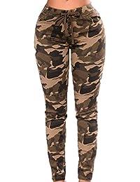 f7adcab89a1d3 Bravoy Femmes Pantalon de Camouflage Pantalon de Survêtement Slim Fit  Pantalon de Survêtement Militaire