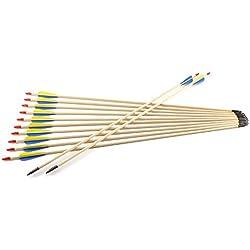 12 Flechas de Madera para Tiro con Arco Recurvo Longbow para Práctica Puntería de Tiro Punta de Acero Asta de Madera , Hecho de Mano (84cm largo)