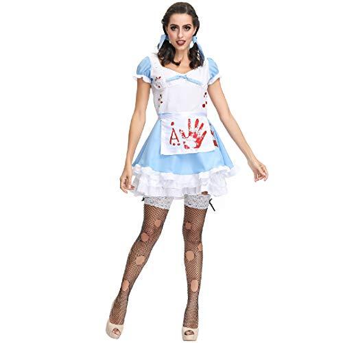 Faschingskostüm Maid Kleid Blauen Cosplay Erwachsene Prinzessin Belle Kostüm Party Outfit Feicua Kostüm Dienstmädchen Karneval Kellnerin Lolita Kleider ()