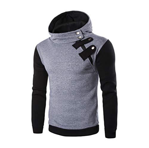 Yvelands Herren Kapuzenpullover Sweatshirt Langarm-Kapuzenshirt Kapuzenpulli Tops Jacke Mantel Outwear(EU-48/L,Grau)