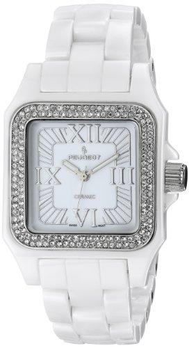 Peugeot Women's PS4897WT Swiss Ceramic Swarovski Crystal White Dial Watch