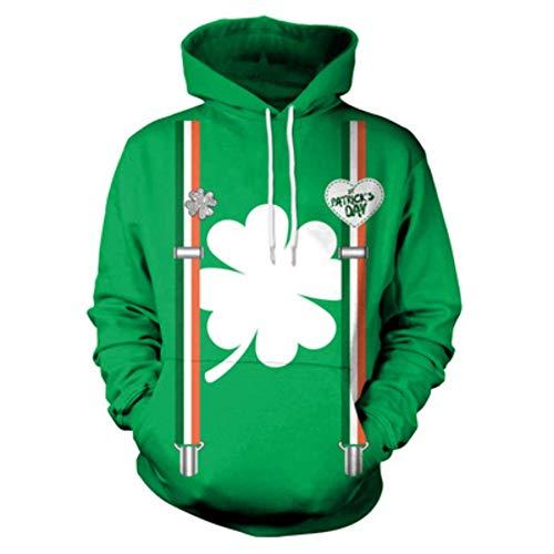 Frauen's Irish Kostüm - ChYoung St. Patrick's Day Irish Pullover Sweatshirts grün mit Kapuze Kostüme für Männer Frauen Sweatshirt Geschenk