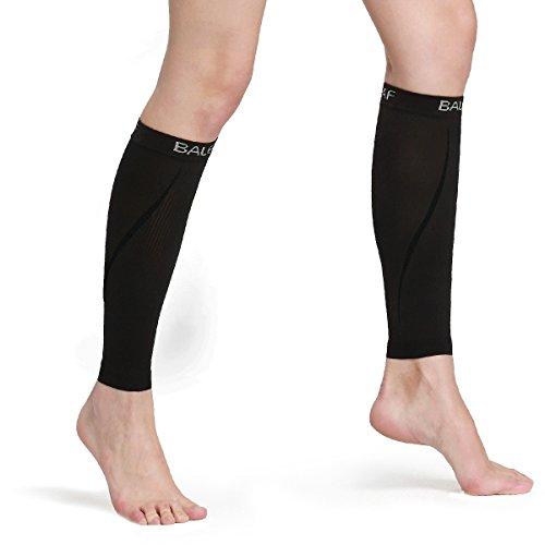 Baleaf Unisex–Pantorrillera de Compresión de pierna manga Shin Soporte pantorrilla calcetines para Running, Ciclismo, Senderismo, espinillas y las varices (1par), hombre, color Pure-Black, tamaño medium