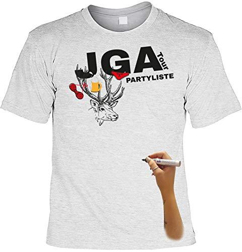 Junggesellen T-Shirt hellgrau mit Permanent Marker: JGA Tour Partyliste