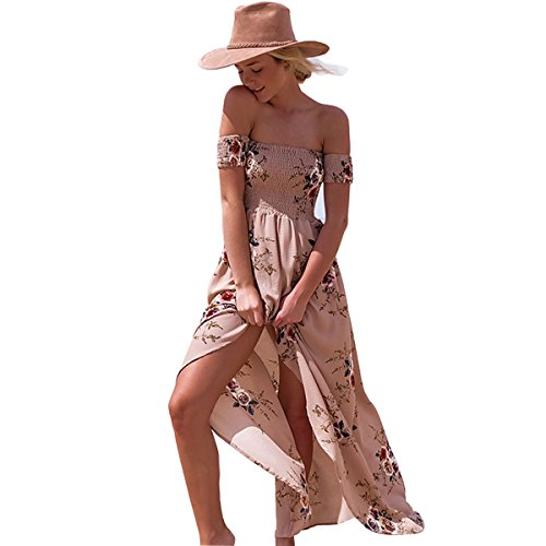 HapiLeap Dame Boho schulterfrei Blumendruck Asymmetric Strandkleider Maxikleider Beach Kleid Partykleid Elegant (S (EU 36), Rosa) (Haar-womens T-shirt Rosa)