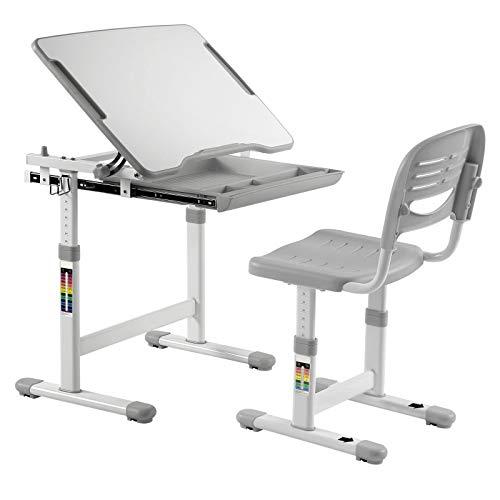 IDIMEX Kinderschreibtisch ALUMNO mit Stuhl und Schublade, Schreibtisch für Kinder und Schüler Schülerschreibtisch Set, höhenverstellbar, grau -