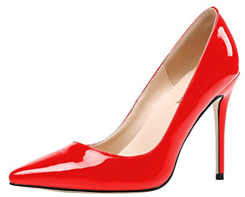 AOOAR Damen High-Heel Glattleder Rot Lackleder Büro Pumps EU 39