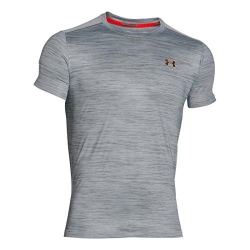 Under Armour Herren Coolswitch Run Podium Short Sleeve Shirt overcast gray-rocket red-gold (1275063-941)