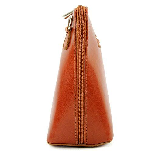 modamoda de - ital. Ledertasche klein Damentasche Umhängetasche Citytasche Rindsleder T94 Camel