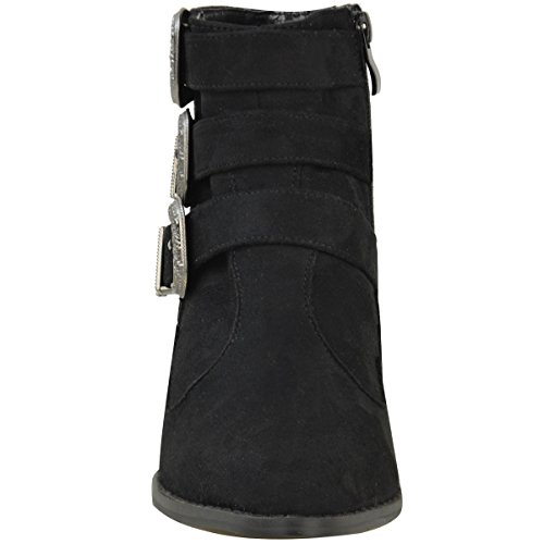 Nuovo Da Donna Vintage Stivaletti Da Cowboy Tacco Basso Casual Buckle Scarpe Numeri Finto Scamosciato Nero/ Fibbia Grigio Scuro