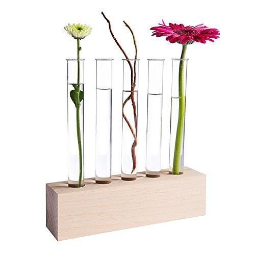 Tuuters Reagenzglas Vase aus Holz | Reagenzglashalter oder Tischdeko ✿ (Buche 5-Loch) (Glas Reagenzgläser Loch)