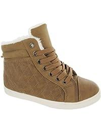 Ladies Shoes High Top Pantalones de Piel de Sport Plano bombas Winter Ankle Boot Trainer SZ