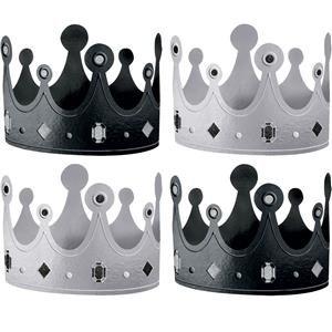 Schwarz & Weiß Metallic Krone Party Hats–13cm (Und Mickey Dress Minnie Fancy Kostüme)