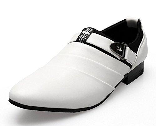 GLSHI Uomini Scarpe Casual Fatto Mano Scarpe Di Cuoio Britannico Con Fibbie Eleganti Slip On Shoes Scarpe Da Sposa White ( Size : 39 )