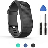 Tosenpo, cinturino di ricambio per Fitbit Charge HR, cinturino da polso di ricambio per fitness tracker Fitbit Charge HR Activity, Black-L