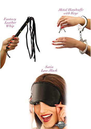 Lover's Fantasy Kit - Wrist/Ankle Cuffs Silky Mask & Leather Whip