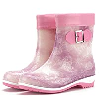 ANTBTS Rain Boots,Light Purple With Plush Women Wear-Resistant Non-Slip Jelly Rain Boots Women