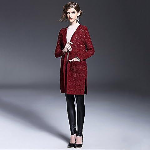 ZH AH chaqueta de punto de lana de las mujeres de largo - suéter salvaje párrafo de manga larga , wine red ,