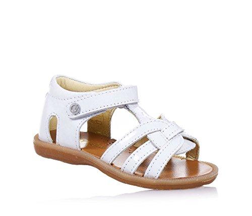 NATURINO - Sandalo bianco in vernice, ideale per il primo passo e per il gattonamento, chiusura a strappo laterale, Bambina, Ragazza-26