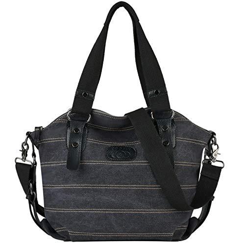 COOFIT Canvas Tasche, Shopper Damen Groß Damen Handtasche Striped Umhängetasche Schultasche Canvas Shopper Tasche Muttertag Geschenk