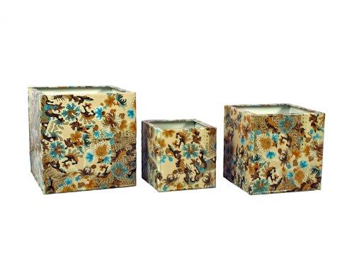 Madhus 's Collection–MG Décor Muscheln quadratisch Pflanzgefäße, 9von 9von 9Zoll/8by 820,3cm/6von 6von 6, Set von 3 (Lg Muscheln)