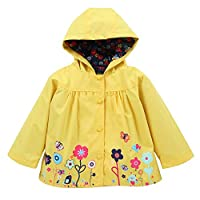 uBabamama Long Sleeve Floral Print Hoodies Windbreaker Clothe Jacket Raincoat Coat for Baby Girls Kids Outerwear Clothing