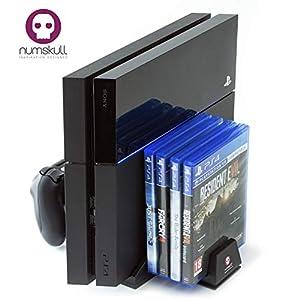 Numskull PS4 Konsolen Ständer mit Kühlungsventilator, Controller Ladegerät Dock, Speicherplatz für 4 Spiele