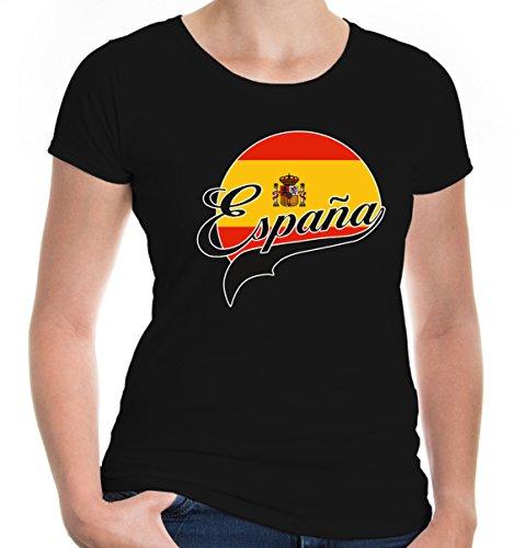 buXsbaum Damen Girlie T-Shirt Spanien Logo | Spain Espana Espagne Spagna Europa Ländershirt Trikot Reise | XL, Schwarz