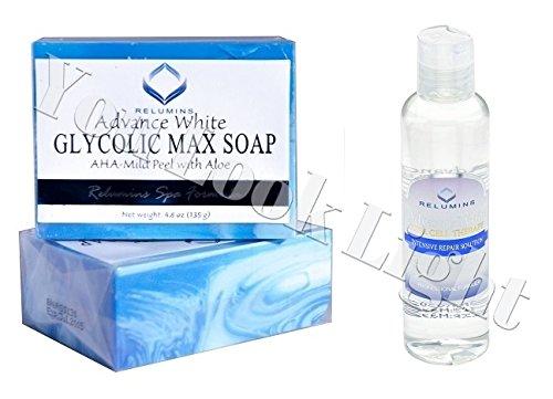 Glicolico Max Sapone aha-mild Peel W/Aloe- professionale Spa Formula + Relumins Advanced Bianco cellule staminali terapia intensiva reapair soluzione-chiarire Toner/astrigent
