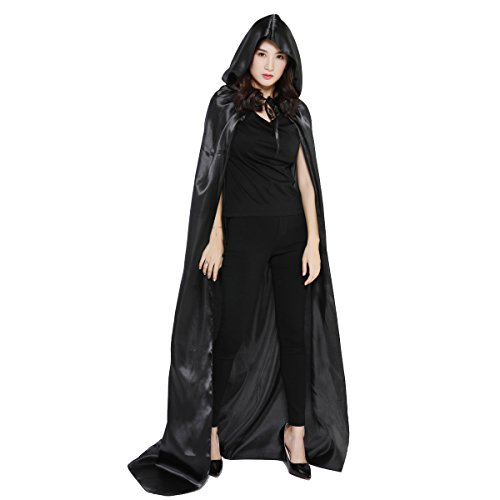 Damen Herren Halloween Umhang Karneval Fasching Kostüm Cape mit Kapuze Schwarz - 4