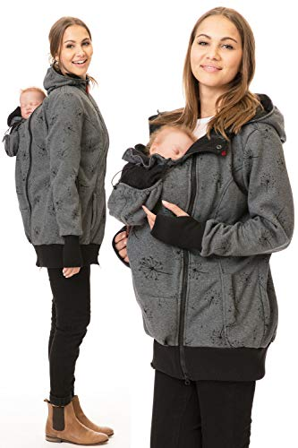 GoFuture 5in1 Babytragejacke Baby Tragen auf der Brust & dem Rücken Umstandsjacke Normale Tragejacke ABRITER Sweatstoff Höchste Qualität (Dunkelgrau mit Pusteblumen, X-Large)