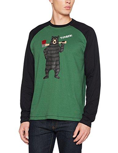Hatley Herren Schlafanzugoberteil Long Sleeve Pyjama Tee Green (Lumberjack Animals)