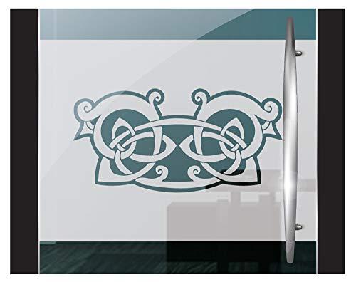 DD Dotzler Design 2802-10 Fensterfolie Sichtschutzfolie Milchglasfolie selbstklebend Gothic Ornament tribal Celtic Ritter Emblem (115 x 30 cm) Weiss