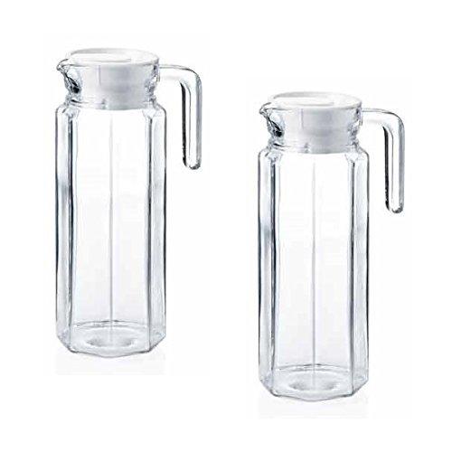 2 x Glaskannen | Pitcher | Saftkrug | Glaskrüge | Kühlschrankkannen | Glas Pitcher / Saftkrug / Kühlschrankkrug / Wasserkrug / Kühlschrankkrüge je 1 Liter aus Glas