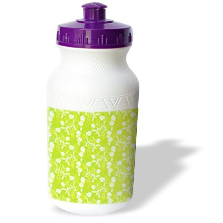 3dRose wb_169143_1 Pretty Lime Green and White Hawaiian Vine Flowers Pattern Sports Water Bottle, 21 oz, White