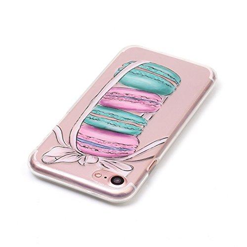 iPhone 7Custodia, Custodia per iPhone 6s, con protezione per lo schermo in vetro temperato], fatcatparadise (TM) antigraffio trasparente in morbido silicone, Colorful Cute Pattern Ultra Sottile e Fle Macarons