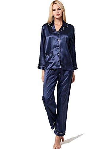 Sankill Damen Seide Pyjama Set Schlafanzug Sleepwear Loungewear mit Geschenk Schlafmaske (Satin Pyjama Navy)