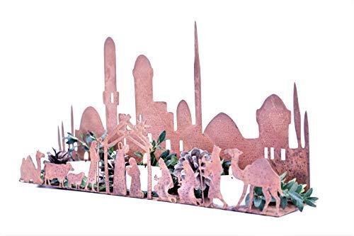 Rostikal   Weihnachtskrippe Weihnachtsdeko Krippenfiguren Krippe mit Figuren Rost Metall Deko Edelrost (330 x 60 mm)