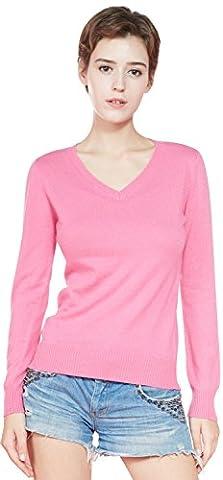 LongMing Ladies 100% Cashmere Jumper Tops for Women's Winter Slim Fit Long Sleeve V-Neck Sweater Knitwear (M / UK Size 12-14, Rose)