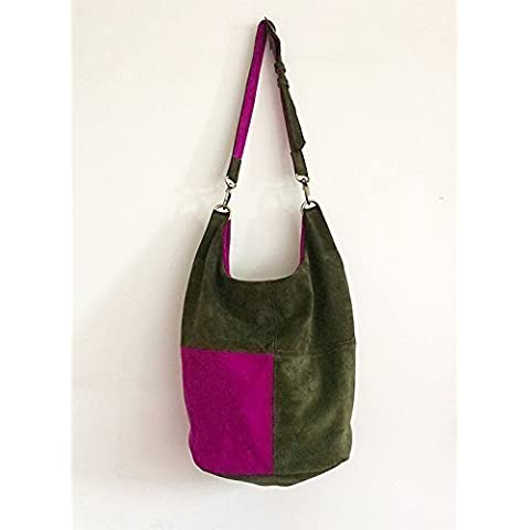 Suede bag, colors green and fuchsia, limited edition by BBagdesign.