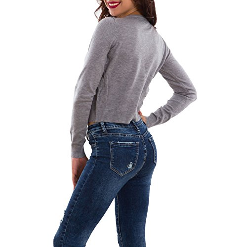 Toocool - Giacca donna pull cardigan maniche lunghe maglione perline sexy nuovo 1009-MOD Grigio
