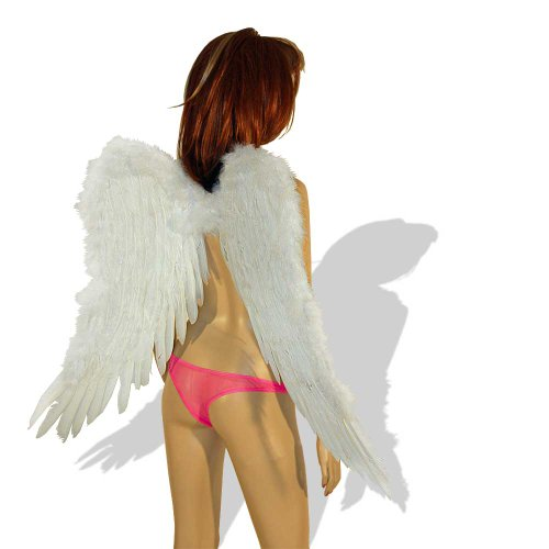 SL-Store GbR Engelsflügel schwarz oder weiß 75x50cm Engel Flügel Halloween Fasching Karneval Fallen Angel ()