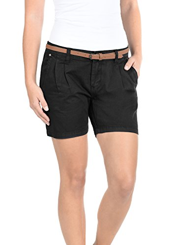 DESIRES Jacy Damen Chino Shorts kurze Hose mit Gürtel Black