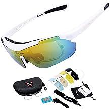 West bicicleta Unisex polarizadas gafas de sol deportivas con 5lentes intercambiables para ciclismo escalada pesca esquí gafas de deportes al aire libre 4colores, hombre Infantil mujer, blanco