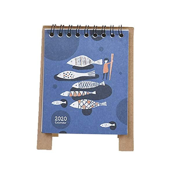RROVE 2020 Table Calendar Cute Cartoon Desktop Paper Calendar, Multi-Function Timetable Plan Notebook 4