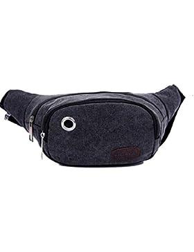 Canvas Gürteltasche flache Bauchtasche Hüfttasche mit Kopfhöreranlass Brusttasche Umhängetasche für Damen und...