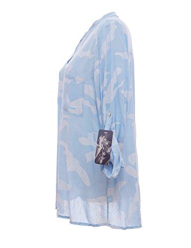 Moda Italy Damen Schlupfbluse Bluse Fischerhemd Camouflage Muster Punkten V-Ausschnitt und Langen Ärmel mit Knopfriegel Polka Dots Longbluse Hemdbluse Hellblau